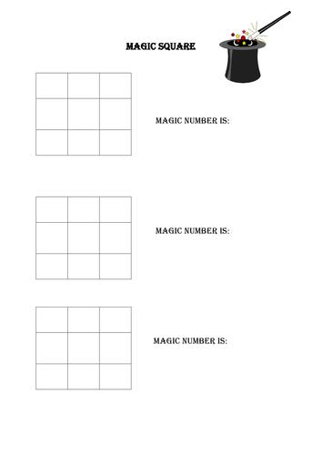 Magic square addition game