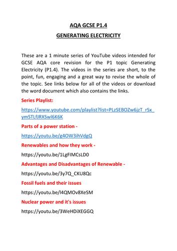 AQA GCSE P1 Generating Electricity Revision
