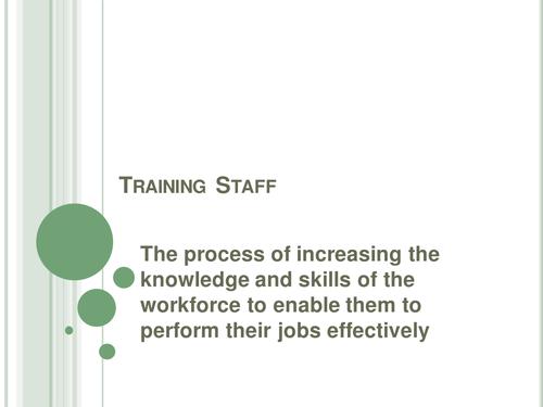GCSE AQA BCS HR Training topic lesson resources