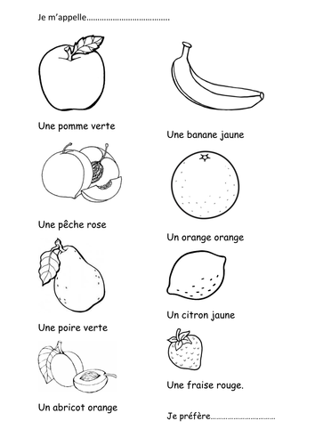 French Fruit Coloring Activity By Handy2 Teaching Resources