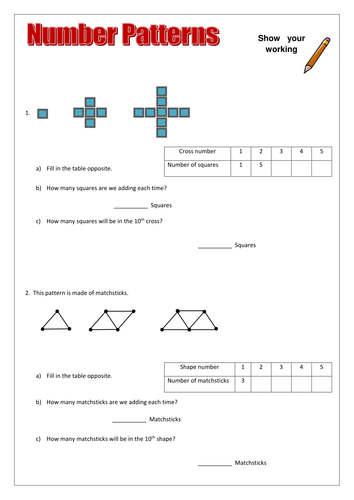 number patterns worksheets differentiated by amy loupin uk teaching resources tes. Black Bedroom Furniture Sets. Home Design Ideas