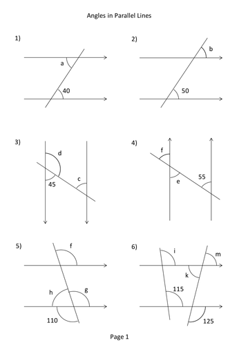 Angles in Parallel Lines Worksheet by mikespence1000 - Teaching ...