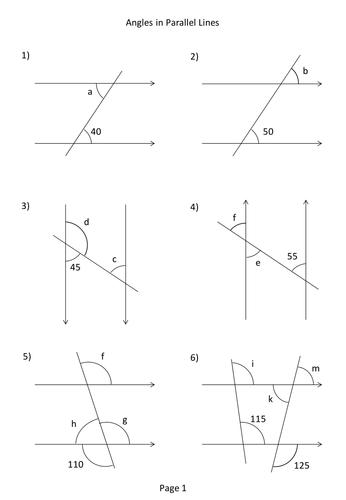 Angles Parallel Lines Worksheet - Delibertad