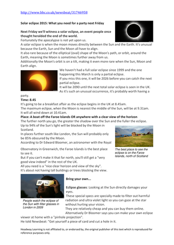 eclipse 2015 reading comprehension by beckyross2001 teaching resources tes. Black Bedroom Furniture Sets. Home Design Ideas
