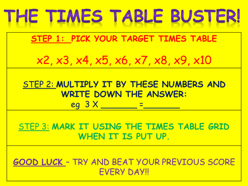 Marking time buster 50 ideas by whizzbangbang teaching for 85 times table
