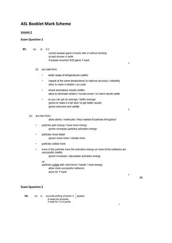 Assessment booklet for AQA C2.4 - C2.7