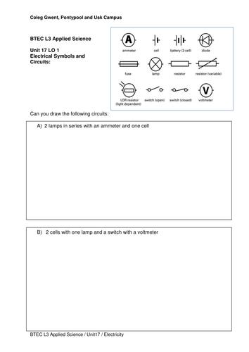 Circuit Diagram Worksheet by bur00917 - Teaching Resources - Tes