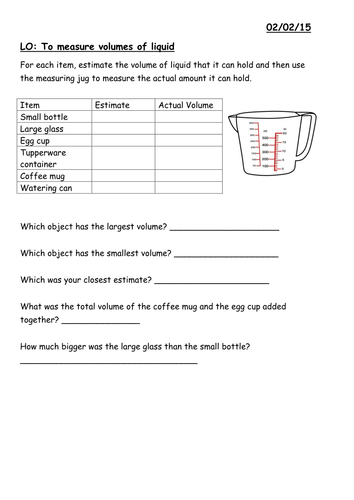 Year 3 Measuring capacity of liquids worksheet by moiller ...