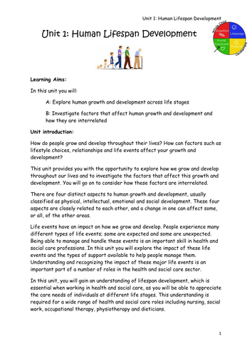 health and social care level 3 unit 4 life stages Level 3 health and social care unit 4 development through the life stages booklet for pupils to fill in and power point to go with every exterminated task in the unit.