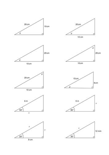 Worksheets Trig Worksheet which trig ratio activityworksheet by purpleak teaching resources tes