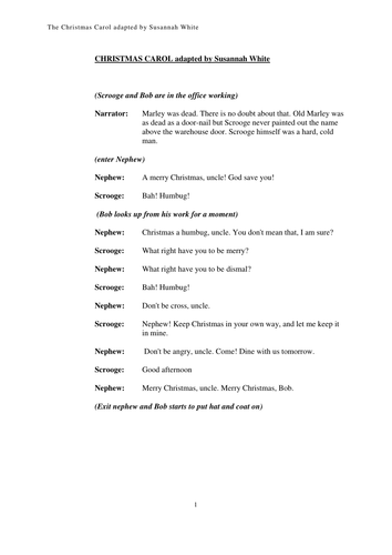 christmas carol a short playscript by whites8 teaching resources tes