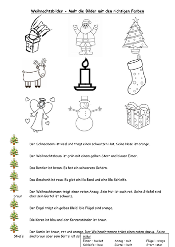 Christmas coloring sheet by HelTwoGerman - Teaching Resources - Tes
