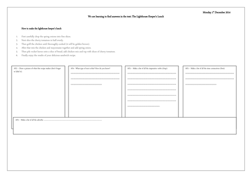 The Lighthouse Keepers Lunch Storyboard Template By Kpo11 Mandegar