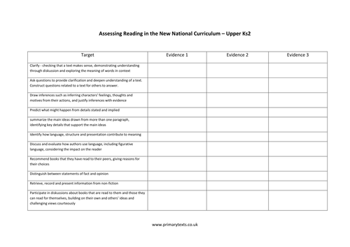 Assessing Reading in the New Curriculum - Yr 5/6