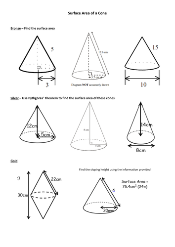 Surface Area of Cones - worksheet by siyoung91 - Teaching ...
