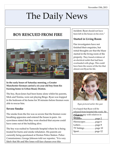 how to write a report on a news article