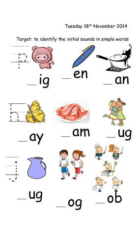 J, H and P CVC worksheets and initial sound sheet by joop09 ...