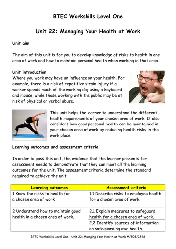 BTEC Workskills (L1) Unit 22: Managing your health at work