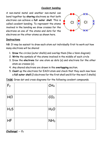 Covalent Bonding Worksheet By Kates1987 Teaching Resources
