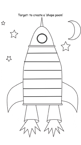 Space/ rocket Shape Poem and Planets Acrostic Poem by