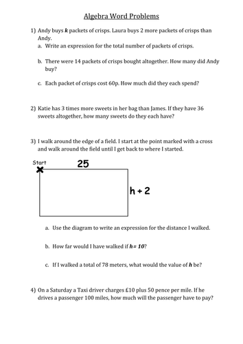 Number Names Worksheets algebra word problems worksheet : Algebra word problems by smoulder1992 - Teaching Resources - TES