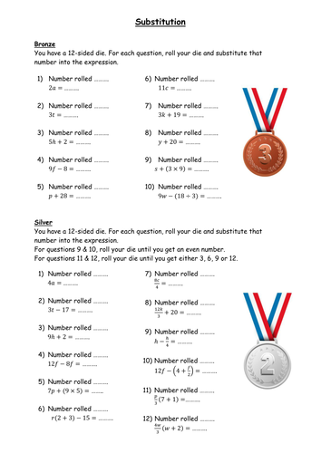 Differentiated substitution worksheet