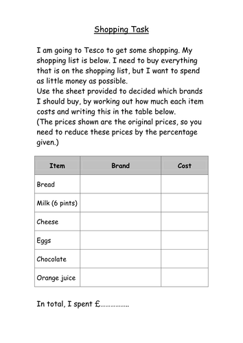 Real-life percentages shopping task