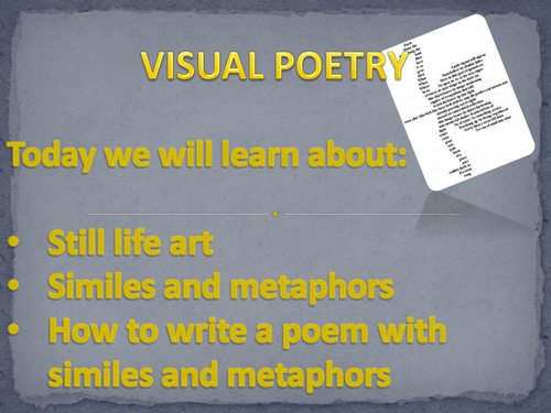 Metaphors and similes using visual poetry