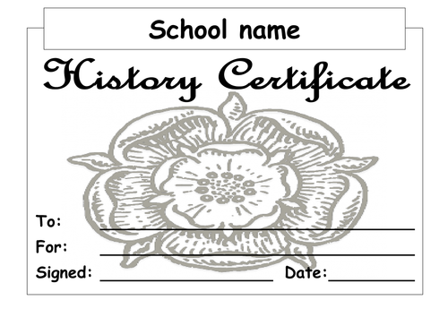 History reward certificates