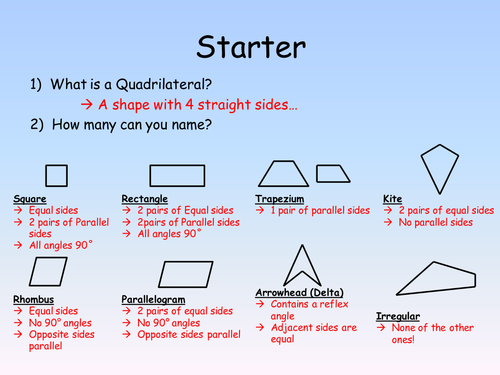 Properties of Quadrilaterals by fionaryan88 Teaching Resources TES – Properties of Quadrilaterals Worksheet