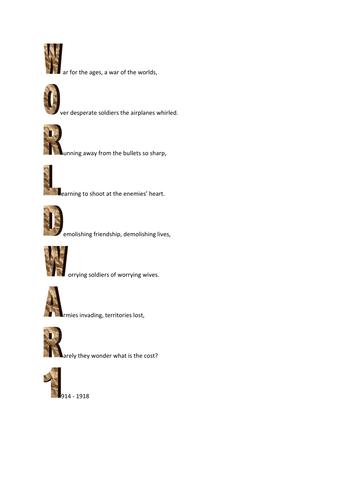 World War 1 Acrostic poems