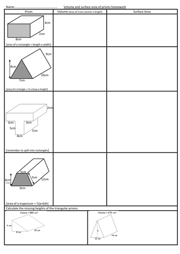 Volume and surface area of prisms worksheet by swaller25 ...