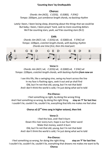 Counting Stars By Onerepublic Sheet Music By Pete216state