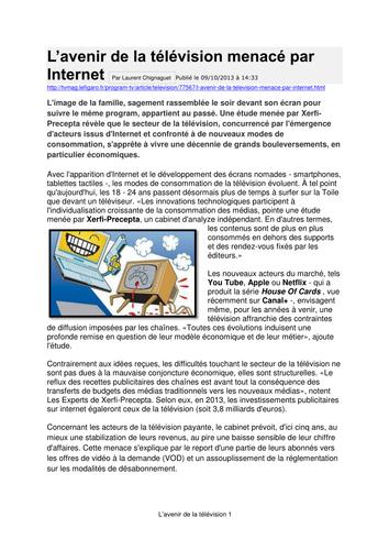 L'avenir de la télévision - AS French les médias
