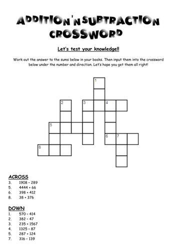 Addition and subtraction crosswords and maths booklet. by