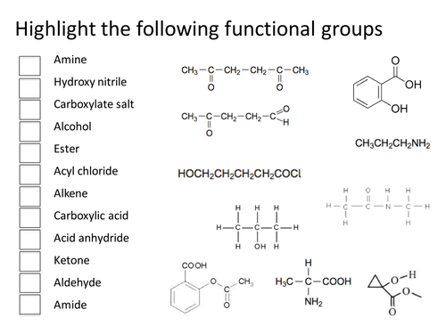 Functional Group Identification by gemmad Teaching Resources Tes – Functional Group Worksheet