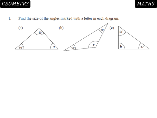 Angles in Triangles and Quadrilaterals lesson by danbar1000 ...