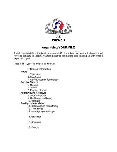 AS French student handbook