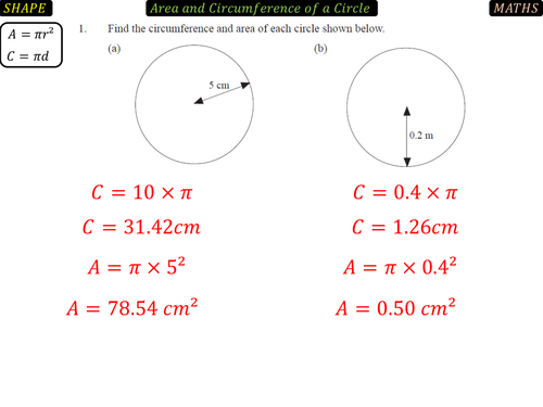 Area and Circumference of a Circle by danbar1000 Teaching – Circumference and Area Worksheet