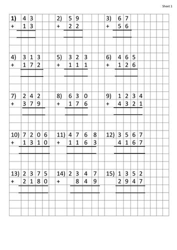 Column Addition Worksheets. 2 digit to 4 digit by HannahBryant ...