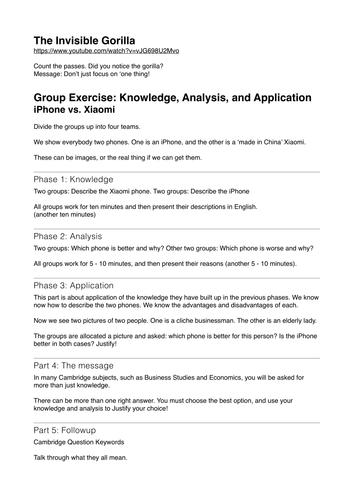 CIE IGCSE Business Studies Exam Skills Exercise by
