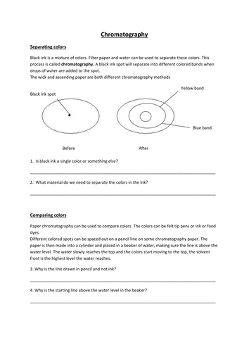 chromatography worksheet by mrfairclough uk teaching. Black Bedroom Furniture Sets. Home Design Ideas