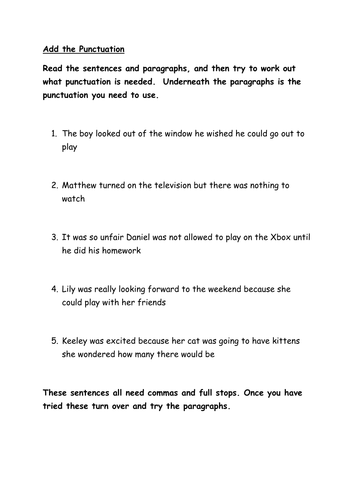 Year 5/6 Sentence structure/punctuation by gheath11 - Teaching ...