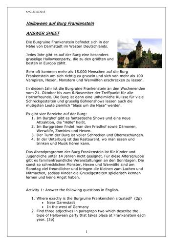 Halloween auf Burg Frankenstein by rosered27 - Teaching Resources - Tes