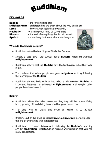 Buddhism intro worksheet 2011.doc by stevemills - Teaching ...
