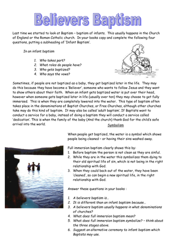 Belivers Baptism Worksheetc By Stevemills Teaching Resources Tes