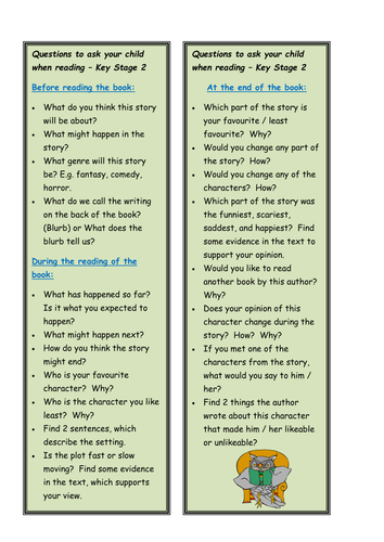 KS2 reading questions bookmark | Teaching Resources