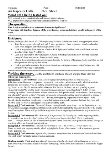 Inspecter calls essay