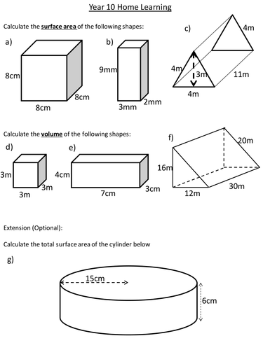 Surface Area and Volume of Prisms by dannytheref - Teaching ...