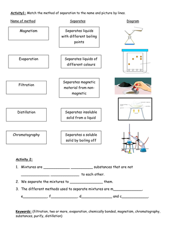 Printables Separation Of Mixtures Worksheet separation techniques by tayyabwahid teaching resources tes